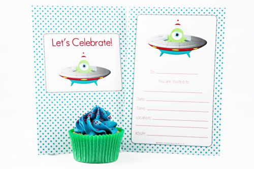 Space Themed Fill-In Party Invitation-party, invitation, boy, fill-in, fillin, space, alien, monster, quality, premium