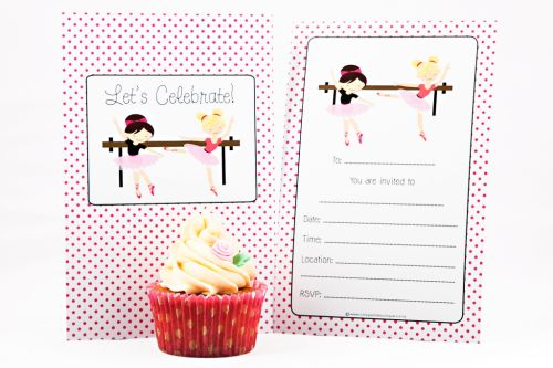 Ballerina Themed Fill-In Party Invitation-party, invitation, girl, fill-in, fillin, ballerina, pretty, pink, quality, premium