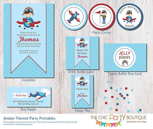 Aviator Themed Party Printable Set-party, invitation, digital, print yourself, diy, aviator, airplane, aeroplane, plane