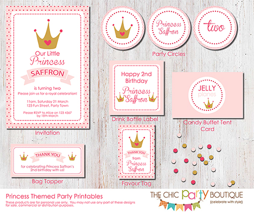 Princess Themed Party Printable Set-party, invitation, digital, print yourself, diy, princess, royal, queen