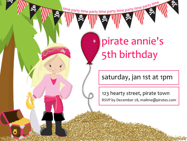Pirate Party Time Invitation-pirate, girl, invite