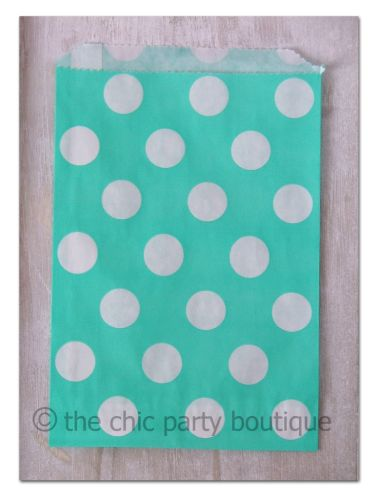 Aqua with White Dot Party Bag-partybox, party, box, giftbox, gift, lootbag, loot, favor, favour, bag, partybag