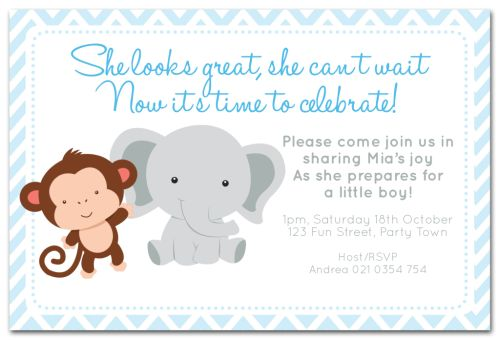 Zoo Animal Themed Baby Shower Invitation Party Birth Announcement