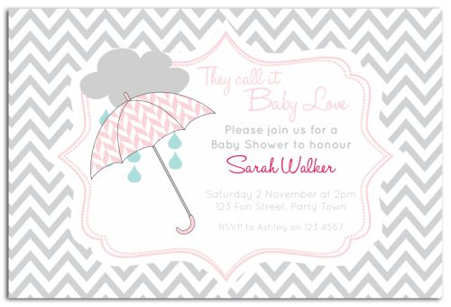Pink Umbrella Chevron Baby Shower Invitation-party, invitation, birth, announcement, birth announcement, baby shower, girl, pink, baby, celebrate, celebration, invite, baby shower, shower, umbrella, chevron