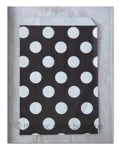 Black with White Dot Party Bag-partybox, party, box, giftbox, gift, lootbag, loot, favor, favour, bag, partybag