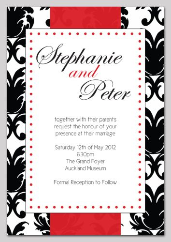Black And Red Damask Themed Wedding Invitation Wedding, Wedding Invitation,  Invite, Contemporary