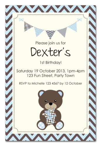 Teddy Bear Bunting Party Invitation-party, invitation, boy, celebrate, celebration, invite, balloon, teddy, teddybear, bear, teddy bear, shower, baby shower, baby, birth