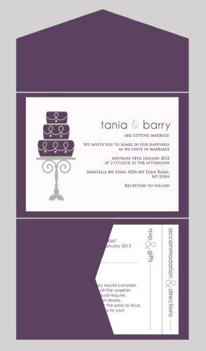 Cake Themed Wedding Invitation with Pocketfold-wedding, wedding invitation, invite, contemporary, modern, new zealand, personal, stylish, quality, inviting designs, invites by design, design, pocketfold
