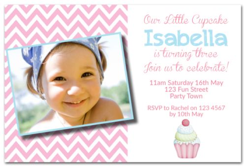 Little Cupcake Party Invitation-party, invitation, girl, celebrate, celebration, invite, cupcake