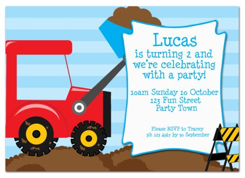 The Chic Party Boutique Party Invitations Boys – Digger Party Invitations