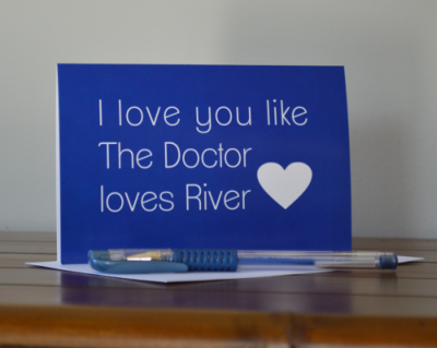 Doctor loves River Card-the doctor, dr who, doctor who, river, valentine, valentines day, love, anniversary, partner