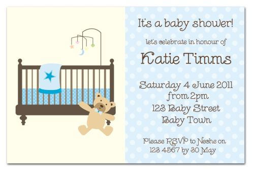 Dotty Blue with Bear Baby Shower Invitation-party, invitation, birth, announcement, birth announcement, baby shower, boy, baby, celebrate, celebration, invite, baby shower, shower