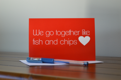 We go together like Fish & Chips Card-greeting card, greeting, card, valentine, valentines day, love, anniversary, partner, we go together, fish, chips