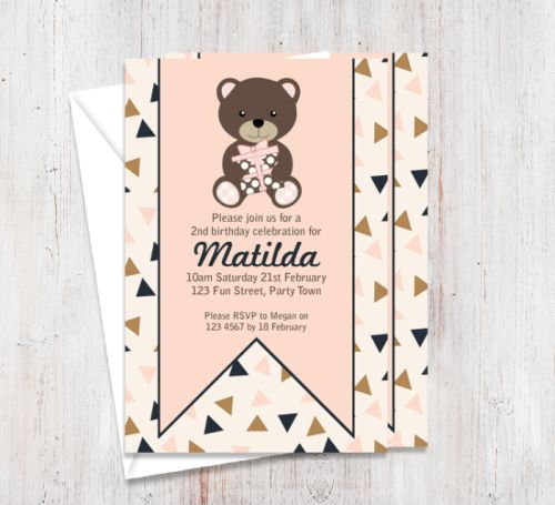 Chocolate Pink Bear Party Invitation-party, invitation, girl, celebrate, celebration, invite, birthday, bear, pink, chocolate, brown, baby, 1st birthday, 1st, first