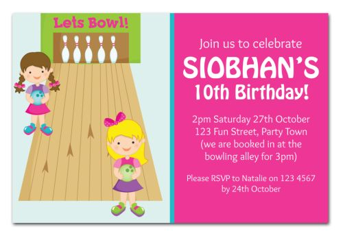 The chic party boutique party invitations girls bowling party invitation girl party invitation girl celebrate celebration filmwisefo