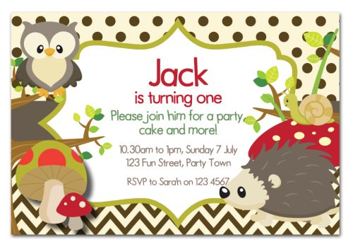 Cute Hedgehog Party Invitation-party, invitation, boy, celebrate, celebration, invite, chevron, woodland, hedgehog, racoon, squirrel, forest