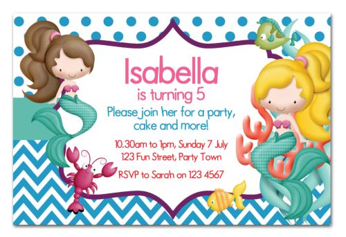 New! Mermaid Themed Party Invitation-party, invitation, girl, celebrate, celebration, invite, mermaid, enchanted, sea