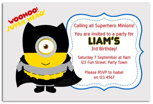 Party Invitations Minions Minion Inspired Party