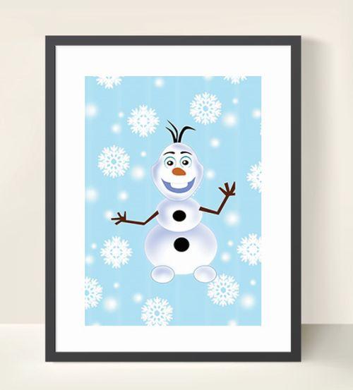 Olaf & Frozen Inspired Wall Art Print-inspiration, inspirational, print, art, wall art, wall, frozen, olaf