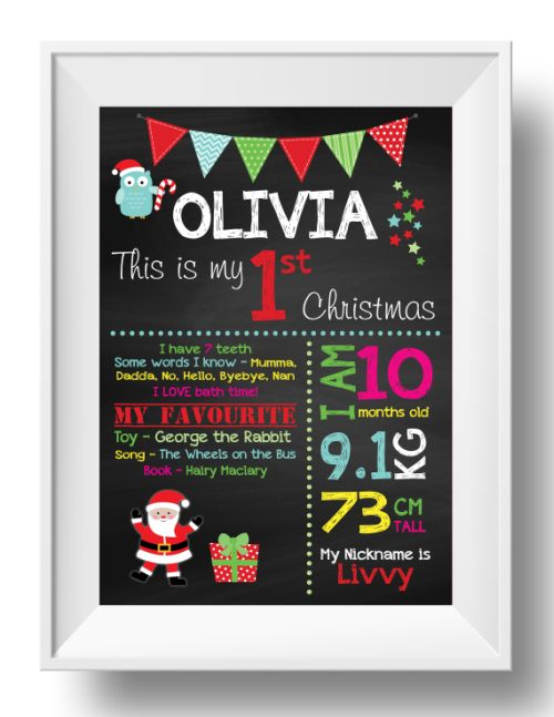Chalkboard Wall Art - 1st Christmas - Girl-inspiration, inspirational, print, art, wall art, wall, first day, 1st day, 1st christmas, christmas, baby