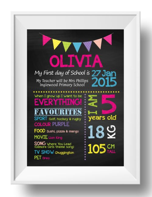 Chalkboard Wall Art - 1st Day of School - Girl-inspiration, inspirational, print, art, wall art, wall, 5th, birthday, school, first day, 1st day