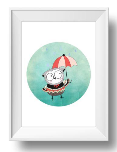 Raindrops Owl Wall Art Print-print, art, wall art, wall, baby, child, boy, girl, love, owl, watercolour, watercolor