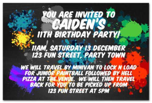 Paintball Splatter Themed Party Invitation-party, invitation, boy, celebrate, celebration, invite, paintball, paint, splatter, teen