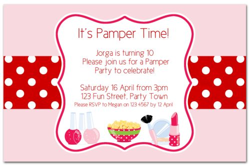 Pamper Party Invitations could be nice ideas for your invitation template