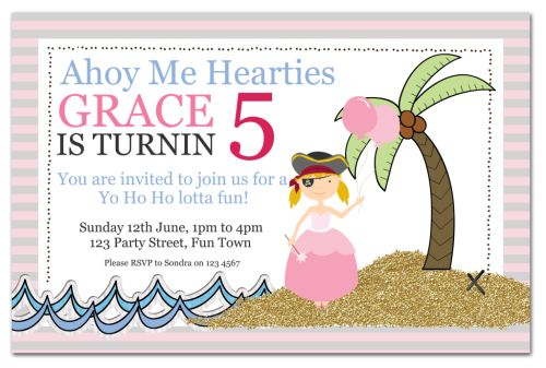 The Chic Party Boutique Party Invitations Girls – Princess and Pirates Party Invitations