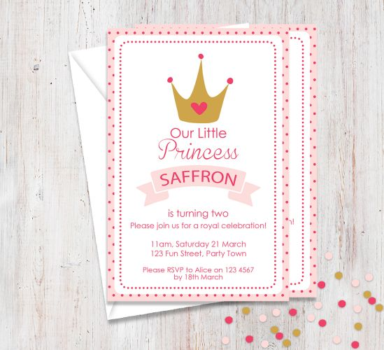 Princess Themed Party Invitation-party, invitation, girl, celebrate, celebration, invite, birthday, princess, royal
