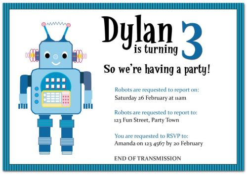 The Chic Party Boutique Party Invitations Boys – Robot Party Invitations