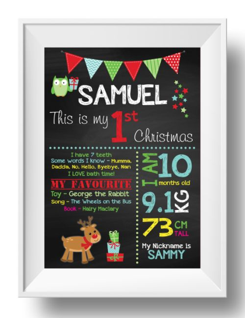 Chalkboard Wall Art - 1st Christmas - Boy-inspiration, inspirational, print, art, wall art, wall, first day, 1st day, 1st christmas, christmas, baby