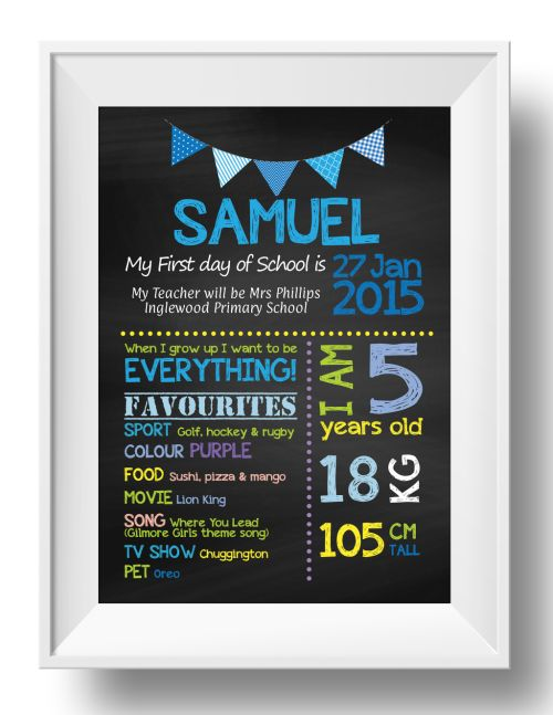 Chalkboard Wall Art - 1st Day of School - Boy-inspiration, inspirational, print, art, wall art, wall, 5th, birthday, school, first day, 1st day