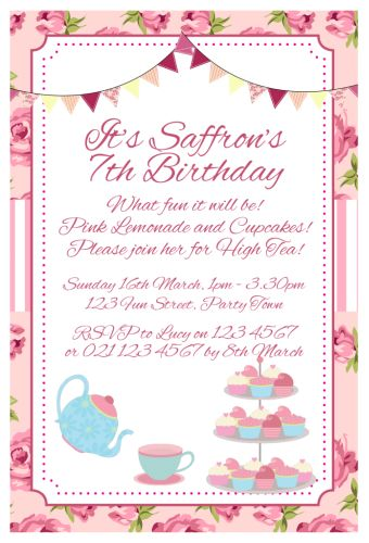 Vintage High Tea Themed Party Invitation Girl Celebrate Celebration