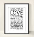 John Legend Lyrics Print Wall Art - All Of Me-john legend, lyrics, song, print, art, wall art, wall, adult, wedding