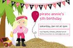 Pirate Party Time Invitation-pirate, girl, invite