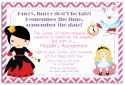 Wonderland Party Invitation-party, invitation, girl, pink, celebrate, celebration, invite, alice in wonderland, wonderland, alice, fairytale, story, mad hatter, teaparty, tea party, tea, queen, queen of hearts
