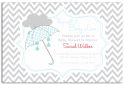 Blue Umbrella Chevron Baby Shower Invitation-party, invitation, birth, announcement, birth announcement, baby shower, boy, baby, celebrate, celebration, invite, baby shower, shower, umbrella, chevron