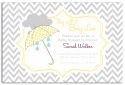 Yellow Umbrella Chevron Baby Shower Invitation-party, invitation, birth, announcement, birth announcement, baby shower, boy, baby, girl, yellow, lemon, celebrate, celebration, invite, baby shower, shower, umbrella, chevron