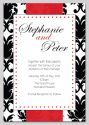 Black and Red Damask Themed Wedding Invitation-wedding, wedding invitation, invite, contemporary, modern, new zealand, personal, stylish, quality, inviting designs, invites by design, design, damask, monogram