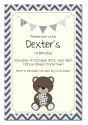 Teddy Bear Bunting Party Invitation-party, invitation, boy, celebrate, celebration, invite, balloon, teddy, teddybear, bear, teddy bear, shower, baby shower, baby, birth
