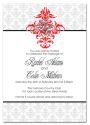 Damask with Monogram Themed Wedding Invitation-wedding, wedding invitation, invite, contemporary, modern, new zealand, personal, stylish, quality, inviting designs, invites by design, design, damask, monogram