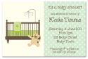 Dotty Green with Bear Baby Shower Invitation-party, invitation, birth, announcement, birth announcement, baby shower, unisex, girl, boy, green, baby, celebrate, celebration, invite, baby shower, shower