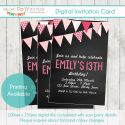 Teen Chalkboard & Bunting Party Invitation - Digital Printable File-party, invitation, digital, print yourself, diy, teen, tween, pre teen, bunting, chalkboard, flag
