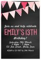 Bunting & Chalkboard Themed Party Invitation-party, invitation, girl, celebrate, celebration, invite, bunting, pennant, teen, preteen, tween