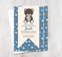 Chocolate Blue Bear Party Invitation-party, invitation, boy, celebrate, celebration, invite, birthday, bear, blue, chocolate, brown, baby, 1st birthday, 1st, first