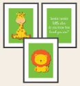 Set of 3 Wall Art Prints - Zoo Animals-zoo, animal, tiger, lion, giraffe, inspiration, inspirational, print, art, wall art, wall, boy, birth, gift, girl, baby