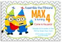 Minion Inspired Party Invitation (4)-party, invitation, boy, celebrate, celebration, invite, minion, despicable me, gru, super hero