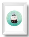 Top Hat Wall Art Print-print, art, wall art, wall, baby, child, boy, girl, love, owl, watercolour, watercolor