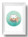 Scarfie Owl Wall Art Print-print, art, wall art, wall, baby, child, boy, girl, love, owl, watercolour, watercolor